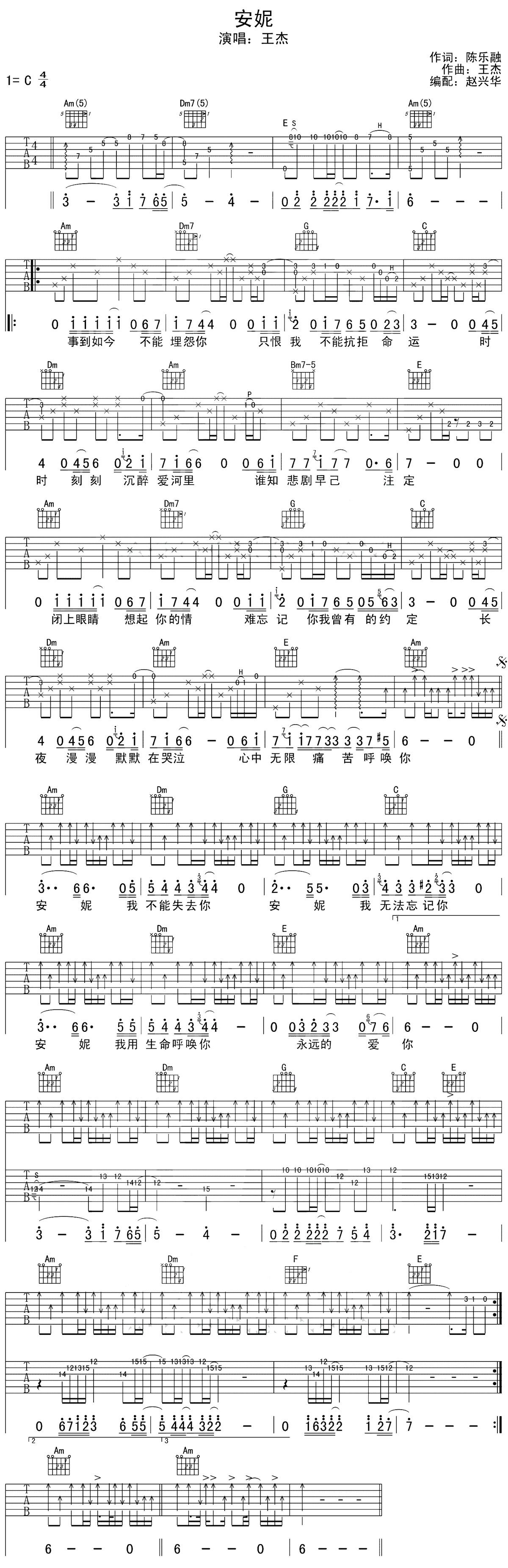 王杰《安妮》吉他图片谱_C调和弦_六线谱_新手弹唱版.jpg
